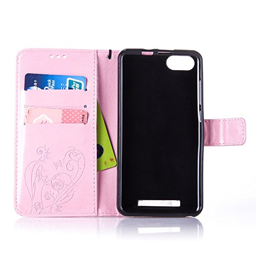 Custodia Wiko Lenny 3, Cover Wiko Lenny 3, Wiko Lenny 3 Custodia Cover, JAWSEU Libro Disegno PU Leather Wallet [Shock-Absorption] Pelle Portafoglio Custodia per Wiko Lenny 3 Cover Goffratura Arts Fior Fiore, Rosa