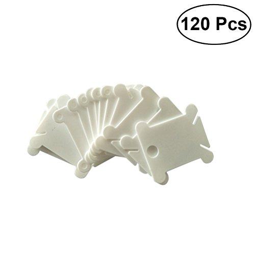 Healifty Kunststoff Spulen Stickgarn Karten Kreuzstich Veranstalter Handwerk DIY Nähen Lagerung 120 Stück (Weiß)