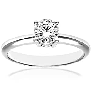 Naava 18 ct White Gold 4 Claw Engagement Ring, E/SI2 EGL Certified Diamond, Round Brilliant, 0.50ct