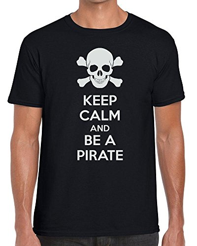Funky NE Ltd Keep Calm and BE A Pirate- Carry On - Tshirt - 100% Cotton - Small to XXL - 15 Colours - Great Gift Idea by