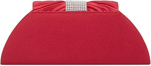 VINCENT PEREZ, Clutch, Abendtaschen, Umhängetaschen, Unterarmtaschen aus Satin mit modischer Raffung und Strasssteinen, mit abnehmbarer Kette (120 cm), 25,5x11,5x5 cm (B x H x T), Farbe:Silber Rot
