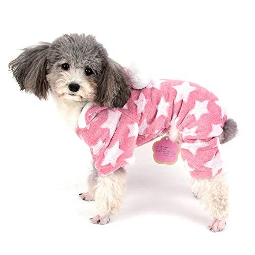 Ranphy Hunde-Pyjama Flecce Overall Winter Jumpsuit Mädchen Haustier Pjs Hoodie Chihuahua Kleidung Welpen Pyjama Outfit Hund Weihnachten Kostüm Yorkie Kleidung für kleine Hunde Katze (Pink-katze Halloween-kostüm Für Kleinkind)