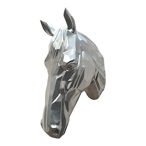 dasmöbelwerk Pferdekopf Wand Figur Skulptur Horse Pferd Kopf Wandschmuck Dekoration in Weiss Silber schwarz 67 cm hoch Silber -