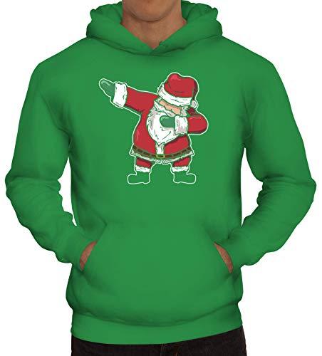 Dab Floss Emote Gamer Weihnachts Herren Hoodie Männer Kapuzenpullover Dabbing Santa Claus, Größe: XXL,Kelly Green