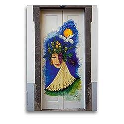 Calvendo Premium Textil-Leinwand 50 cm x 75 cm hoch, EIN Motiv aus dem Kalender Türen in Funchal | Wandbild, Bild auf Keilrahmen, Fertigbild auf echter Leinwand, Leinwanddruck Orte Orte