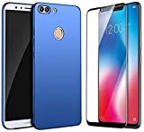 Ridivishn 360 Degree Ultra-Slim Hard Matte Finish Back Cover With 2.5D Curved Edge To Edge Tempered Glass For Honor 9N (Blue Case & Black Tempered)