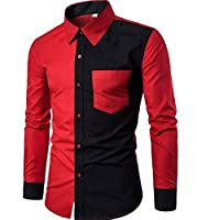 SportsX Mens Color Splice Buttoned Long Sleeve Comfy Work Shirt Red XLarge