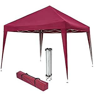 TecTake Pop up gazebo for garden party camping festivals 3x3m with bag folding tent - different colours - (Red | No. 401622)