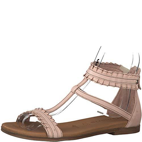 Tamaris 1-1-28128-22 Damen Schaftsandalen,Sandale,Sandalette,Sommerschuh,bequem,flach,Reißverschluss,Touch-IT,Rose,39 EU