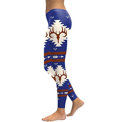 Frauen Yoga Sport Hose Mode Geweih Gedruckt Stretch Strumpfhosen Abnehmen Elastizität Leggings Bleistift Hose Blau Weihnachten (Tie Dye Rock Kostüme)