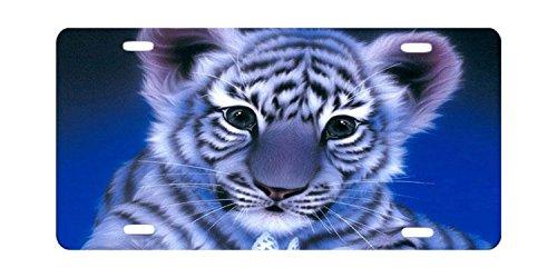 DQVWGK Kids Kleine Tiger Tiere Custom Aluminium License Plate Frames für Auto License Plate Cover mit 4Löchern Auto-Tag 15,2x 30,5cm