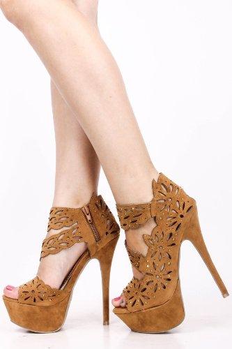 Onlymaker Damenschuhe High Heels Laser Cut Sandale mit Plateau und Nieten Kamel