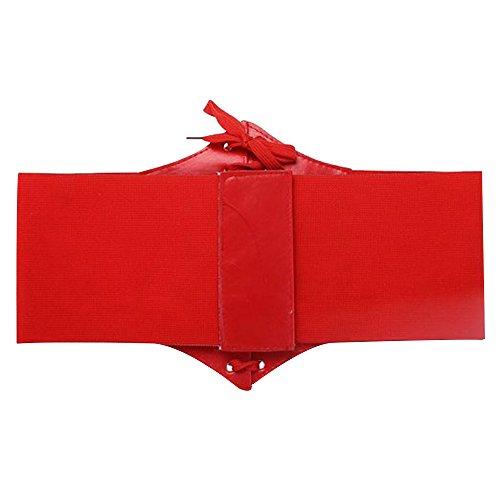 Contever® Unterbrust PU Leder Taillen Corsage - Taillengürtel - Cinch-Gürtel (Schwarz) Rot