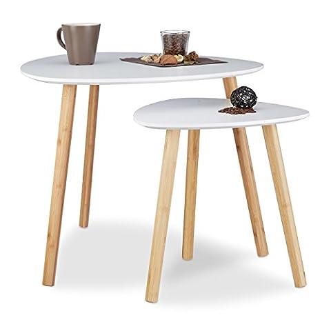 Relaxdays Lot de 2gigognes Compact Extrémité Motif nordique, pieds de fleur et journal Tables Basses, bois, Blanc, 60x 60x 48cm