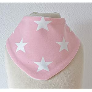 Baby Lätzchen Sabberlatz Halstuch Bib Mädchen 0-3 Jahre Fleece Jersey hellrosa weiß Sterne