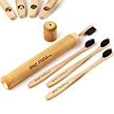 Brosse à dents en bambou 4 pièces avec étui de voyage - Brosse à dents manuelle avec manche en bois 100% bambou - Biodégradable, végétalien & sans BPA - Petite tête de brosse & poils mittelweiche