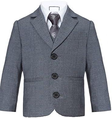 New Fashion - Chaqueta de traje - Básico - para niño gris Grau mit fishgrätemuster 32