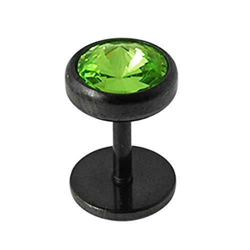 Runde Licht grün Crystal Stein 16 Gauge schwarz eloxiert chirurgischer Stahl 316L Fake Ohr Piercing Plug -