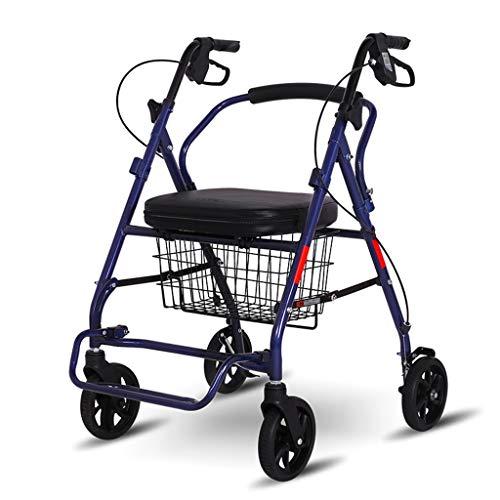 Handwagen Einkaufswagen Alter Trolley Älterer Helfer Klappbarer Einkaufswagen Gehwagen Tragbar Tragbar und sitzend Maximale Tragfähigkeit beträgt 150 kg