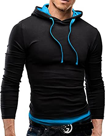 MERISH Pulli Slim Fit Kapuzenpullover Longsleeve Pullover Jacke Shirt 06 Schwarz/Türkis S