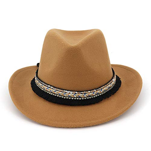 MXNET Frauen Herren Fedora Wolle Baumwolle Polyester Western Cowboy National Stil Hat für Winter Herbst Elegant Lady Dad Kappen Trilby Homburg Kirche Jazz 1