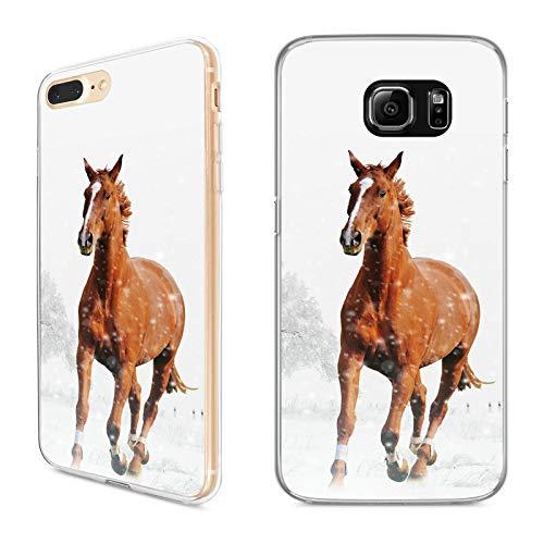 Handyhülle Pferd für Samsung Silikon Pferde Natur Reiter Horse Trense Sattel Reiten Pony Einhorn, Kompatibel mit Handy:Samsung Galaxy S7, Hüllendesign:Design 3 | Silikon Klar