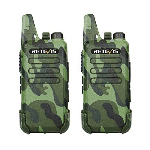 Retevis RT22 Walkie Talkie Recargable 16 Canales 2 Way Radio VOX Scan CTCSS/DCS Transmisores-receptores Radio Bidireccional con Cable USB (1Par, Negro)