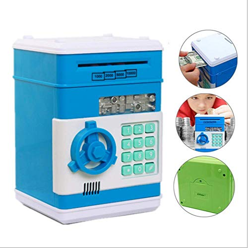 ZSKJ Cool Iron Man Cartoon ATM electrónico Contraseña Piggy Bank Money Bank Moneda en Efectivo Caja de Ahorro de Dinero Regalo para niños (Azul)