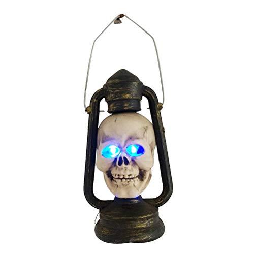 Mobestech Cabeza de esqueleto de Halloween Lámpara de noche colgante Lámpara de noche de calavera impermeable de Halloween Lámpara de noche decorativa