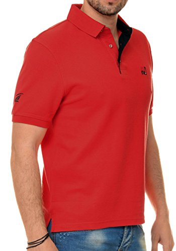 M.Conte Herren Poloshirt Polohemd T-Shirt Polo Pique Basic Men's Plain Rot M L XL XXL XXXL Romano Rot