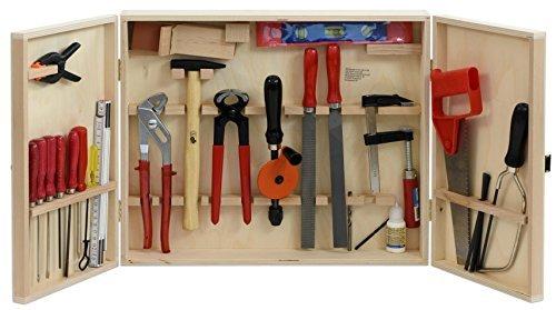 Pebaro Werkzeugschrank – Holzschrank mit hochwertigem Werkzeug für Kinder, Heimwerken, Basteln