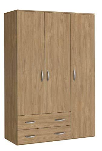 Klipick armadio 3 ante + 2 cassetti h. 175 cm. dimensioni: l 121 p 52 altezza 175. oriana. colore noce
