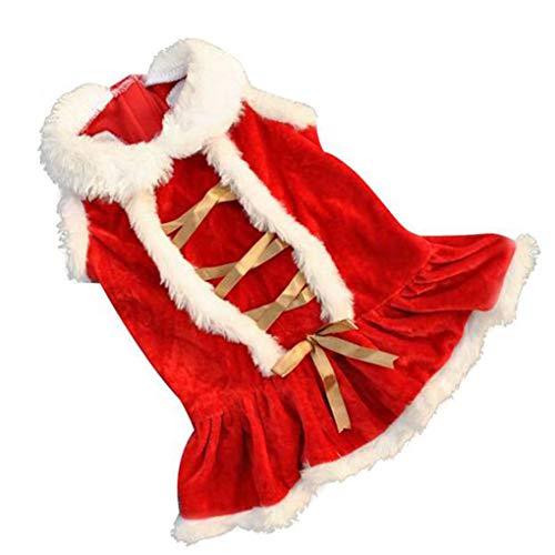 Kakiyi Weihnachten Red Dog Rock Prinzessin-Hündchen-Kleid Winter-Haustier-Kleidung Samt Warme Kleidung Kostüm