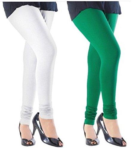 M.G.R.J Women\'s Cotton Lycra Churidar Leggings Combo (Pack of 2 White, Green) - Free Size