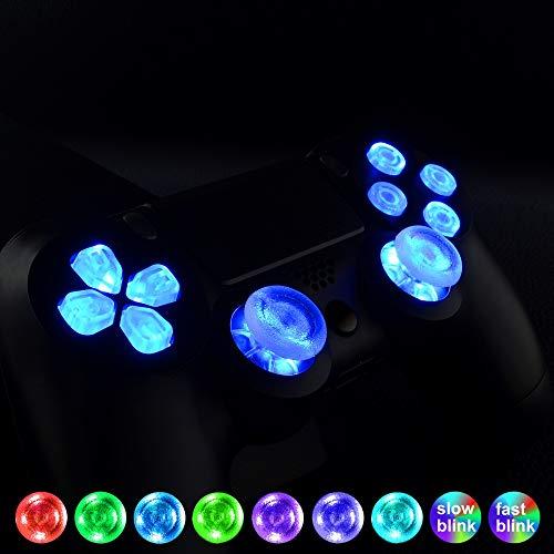 eXtremeRate DTF PS4 Knöpfe Tasten D-Pad Thumbsticks Steuerkreuz Button LED Kit Zubehör für PS4 Playstation 4 Controller(Leuchttaste)