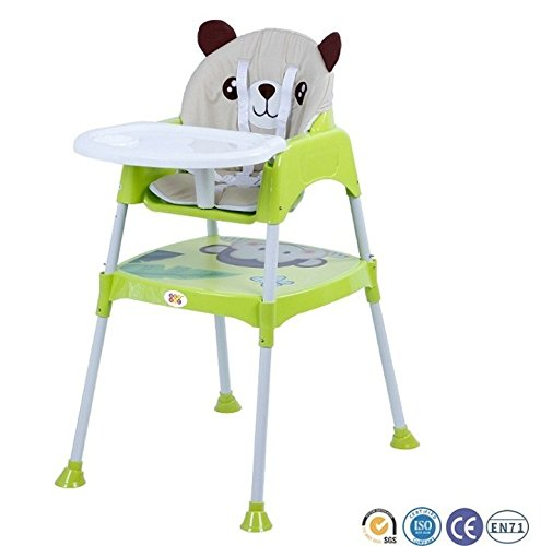 Baby High Chair BPA FREE / Adjustable Portable Space Saver Convertible 3-in-1 (with cushion) (Green) by Bey Bee