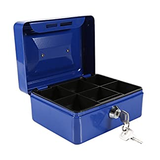 amarillo Medio Caja de hierro caja de seguridad con compartimento bandeja se adapta para moneda monedas facturas Checks