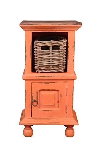 Sunset Trading CC-TAB016TLD-TERW-B Beistelltisch mit Korb Shabby Chic Cottage Small Side Coral with Raftwood Top -