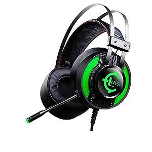 KARTELEI Gaming Headset Stereo Geräuschisolation LED-Licht Kopfhörer für PC, Xbox One, PS4, Nnintedo Switch