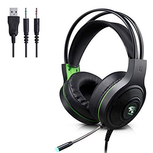 Headset mit Mikrofon - Gaming-Kopfhörer für PS4, Xbox One (Adapter erforderlich), Nintendo Switch (Audio) PC-Gaming-Headset mit kristallklarem Sound, LED-Leuchten und Noise-Cancelling-Mikrofon (grün)