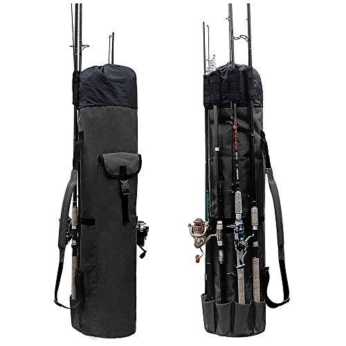 BETTERLE Rutentasche Angeltasche Angelrute Fall Oxford Travel Reel Carry Case Outdoor wasserdichte Angeln Werkzeuge Aufbewahrungstasche für Fischer (Schwarz)