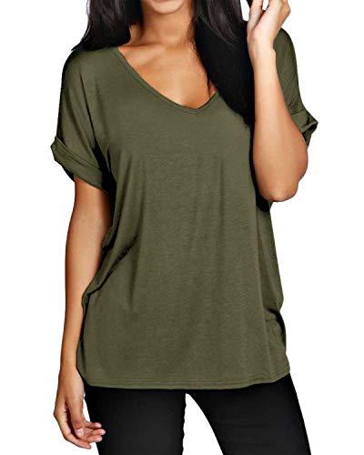 ZANZEA Damen V-Ausschnitte Kurz Fledermausärmel Lose T-Shirt Tops Bluse Armee-Grün EU 46/Etikettgröße XL - Für Immer Grünes T-shirt
