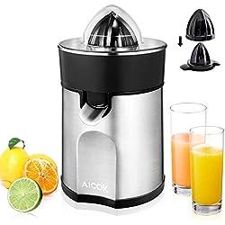 Aicok Presse-agrumes électrique en acier avec système anti-goutte flux Direct, presse-agrumes arrêt automatique pour oranges et kiwi, 85 W, argent