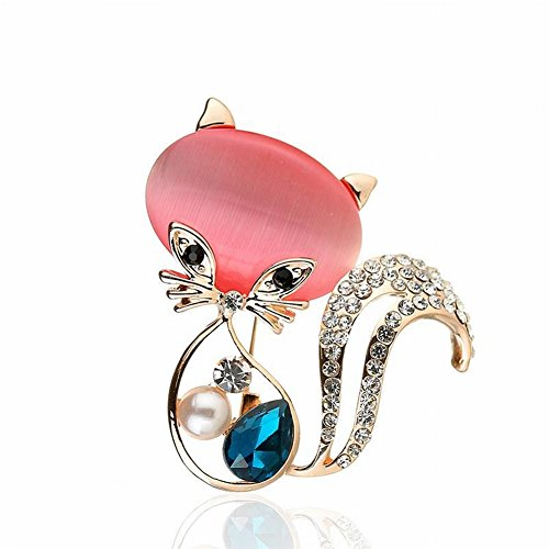HOX Katzenaugen-Kätzchen-Mimi-Mädchen-Tragende Brosche-Nette Diamant-Brosche-Zusatz-Kostüm-Dekoration, Legierung, Mode, Frauen, Katze, Diamant, Gold und Rose
