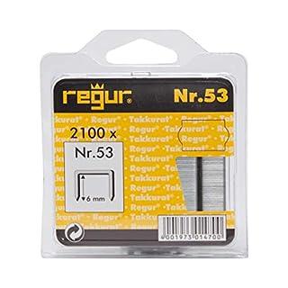 REGUR Typ 53 Feindraht-Klammern verzinkt - 2.100 Stück in der Länge 53/6 mm - Heftklammern Zum Befestigen von Stoffen, Leder, Textilien sowie Zum Basteln und Dekorieren