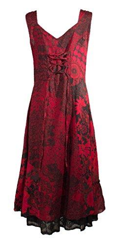 Coline - Robe mi-longue évasée imprimée doublée Rouge
