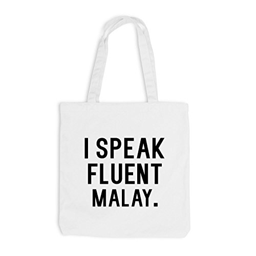 Jutebeutel - I speak fluent Malay - Sprache Weiß