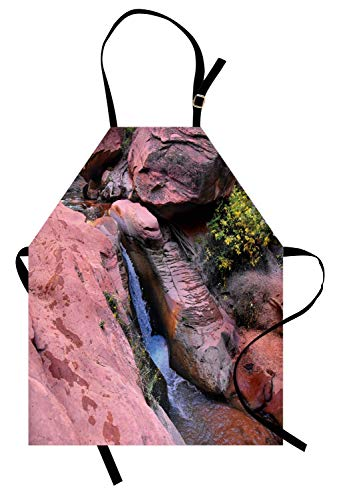 Zion National Park Schürze, Natur-Themed Outdoor Szene Foto mit kleinem Wasserfall auf Sandstein, Unisex-Küche Latzschürze mit verstellbarem Hals zum Kochen Backen Gartenarbeit, ()