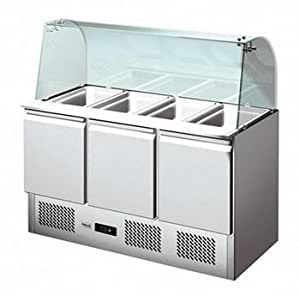 L2g - saladette inox réfrigérée - 3 portes gn 1/1 - pare haleine en verre bombé