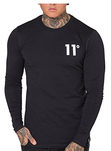 11-degrees-uomo-core-tshirt-a-manica-lunga-nero-m